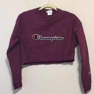 Champion Burgundy Cropped Sweatshirt